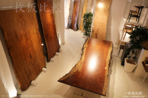 屋久杉とブビンガの一枚板テーブル