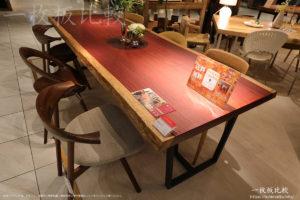 パープルハートの一枚板テーブル