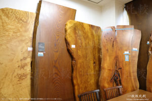 トチのコブ板、ケヤキ、屋久杉、朱里桜、ポプラの一枚板