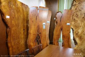 朱里桜、ポプラの一枚板テーブル