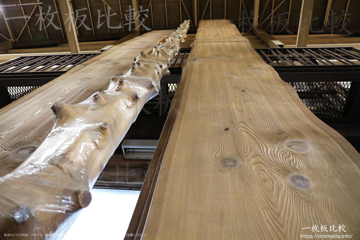 全長8メートルの巨大な秋田杉の一枚板
