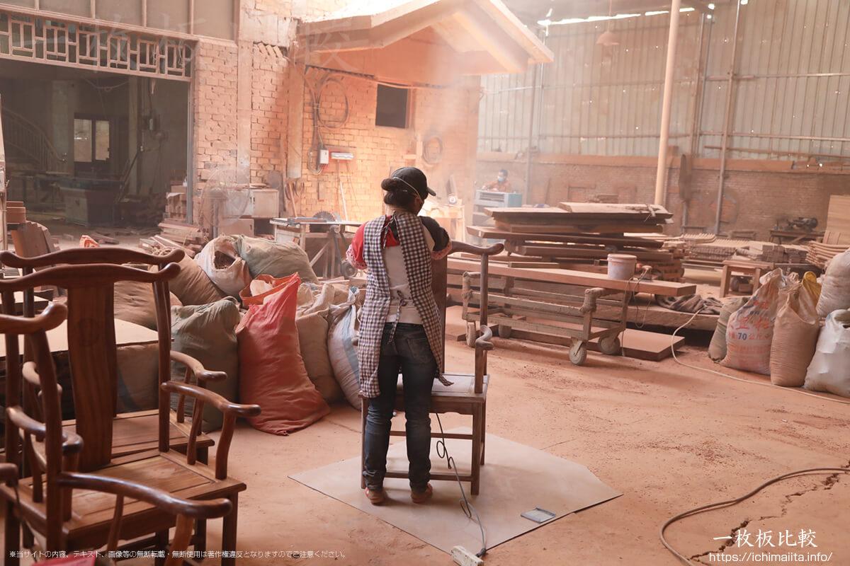 株式会社天成商事の一枚板製造工場