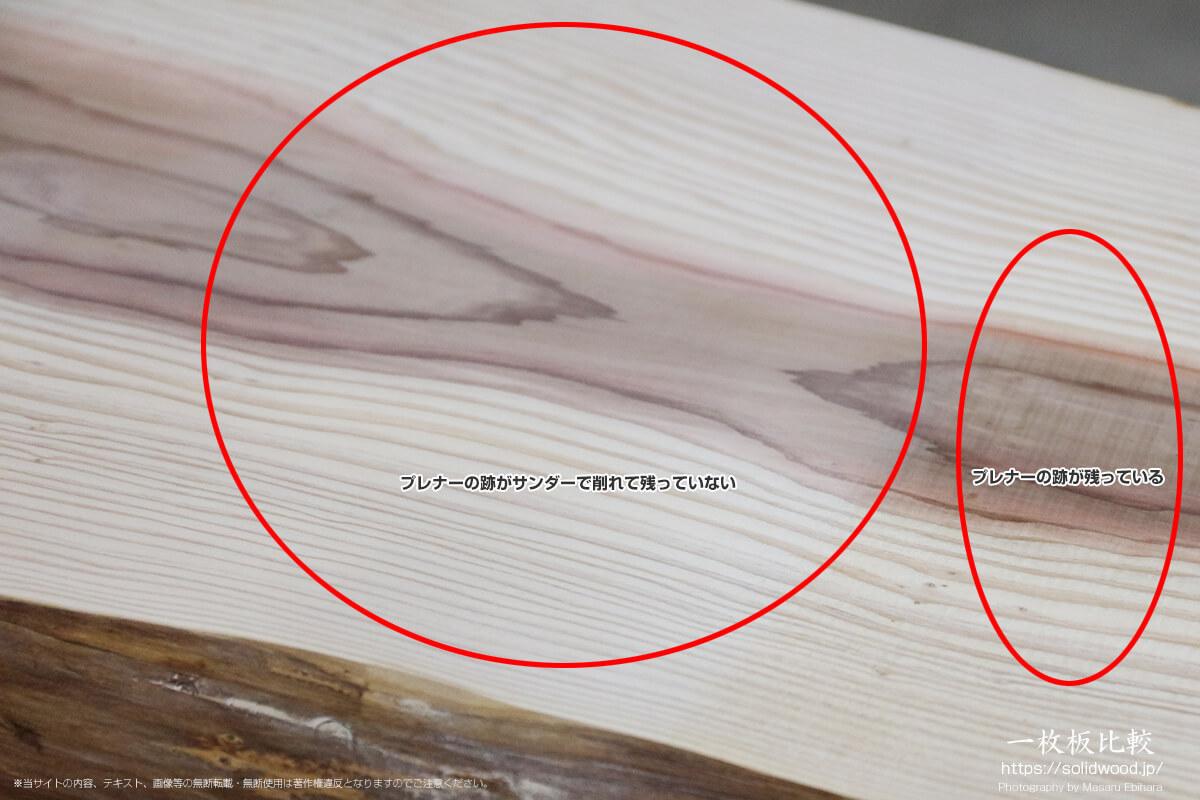 サンダーをかけた箇所とかけていない箇所の比較
