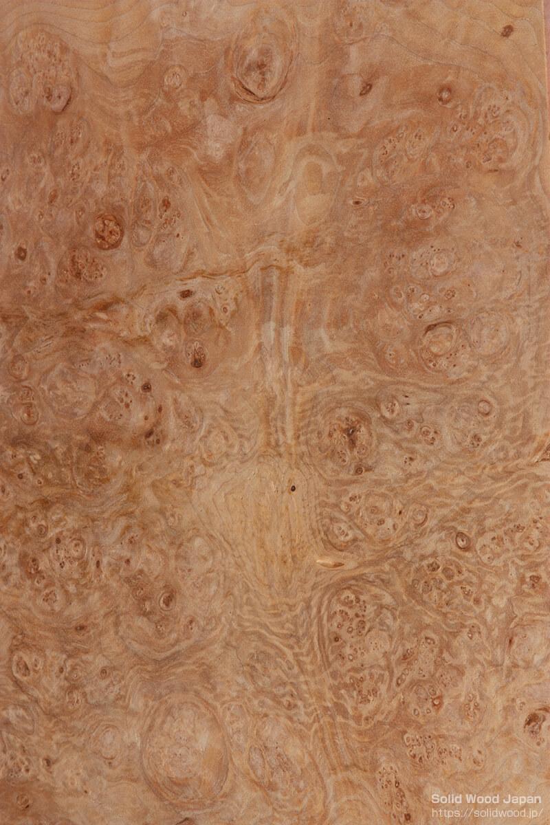 赤目柳(あかめやなぎ)の瘤から得られた珍しい葡萄杢目(ぶどうもくめ)
