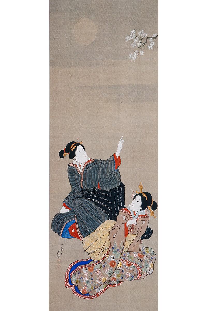 江戸時代に描かれた月を愛でる(めでる)女性の仕種(しぐさ)の浮世絵