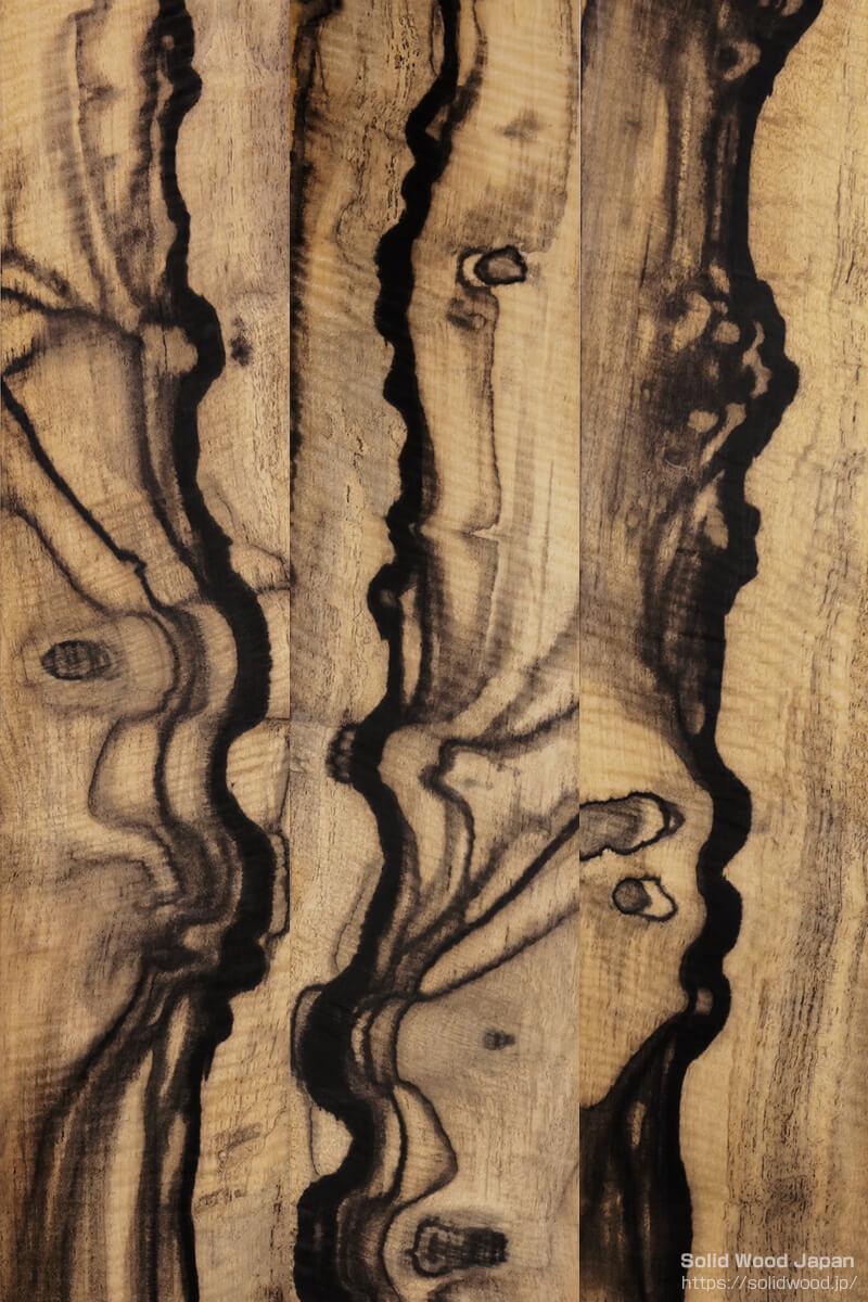 黒柿の柾目部分に現れた縄目杢(なわめもく)
