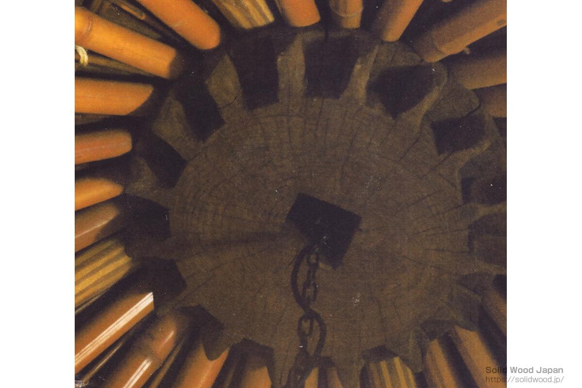 傘天井(かさてんじょう)中央に、水車小屋の歯車を利用した例