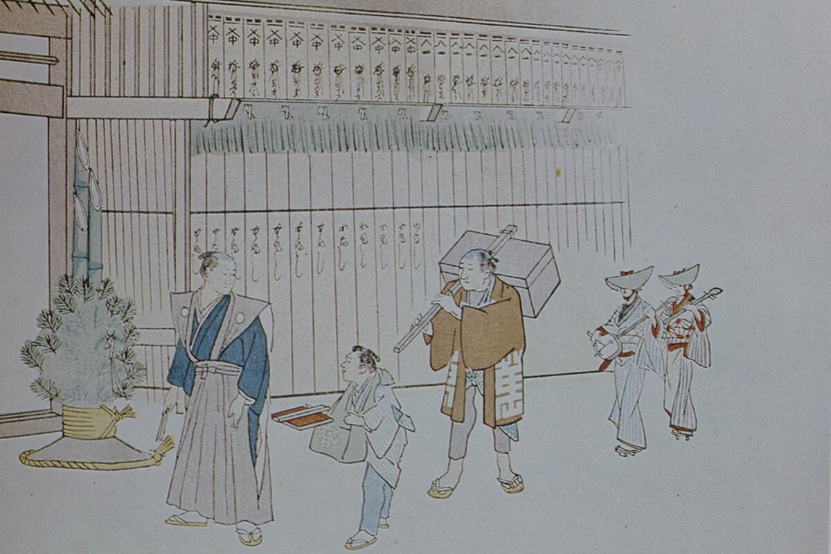 江戸時代の材木屋の年始回り礼の絵