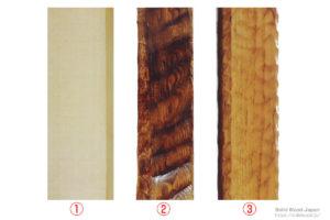 """糸柾の栗材木地、大手斧(おおちょうな)で""""はつり""""を入れた床框(とこかまち)、突鑿(つきのみ)による鹿ノ子(かのこ)名栗された榧材(かまらざい)"""
