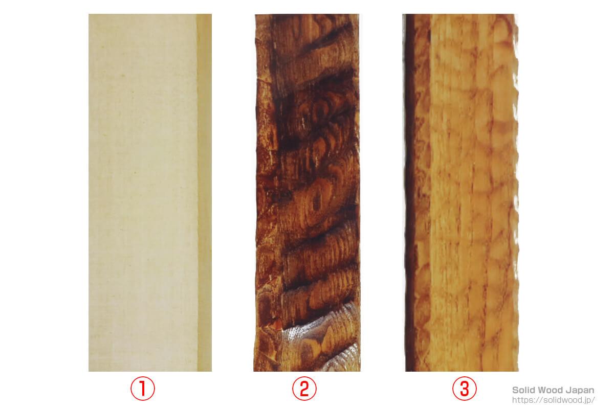 """糸柾の栗材木地、大手斧(おおちょうな)で""""はつり""""を入れた床框(とこかまち)、突鑿(つきのみ)による鹿ノ子(かのこ)名栗された框材(かまちざい)"""