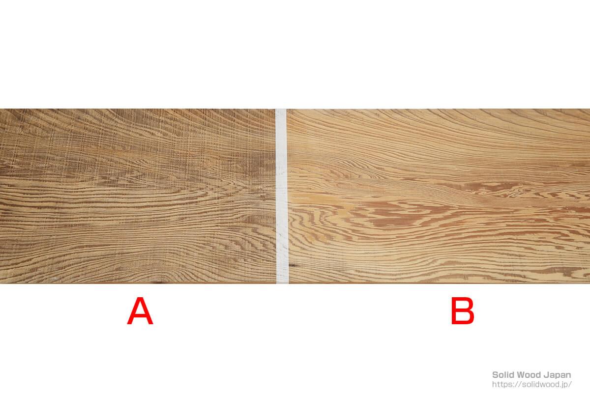 「A」製材してから日時が経った材、「B」うづくり加工を施し、汚れを取り去った材