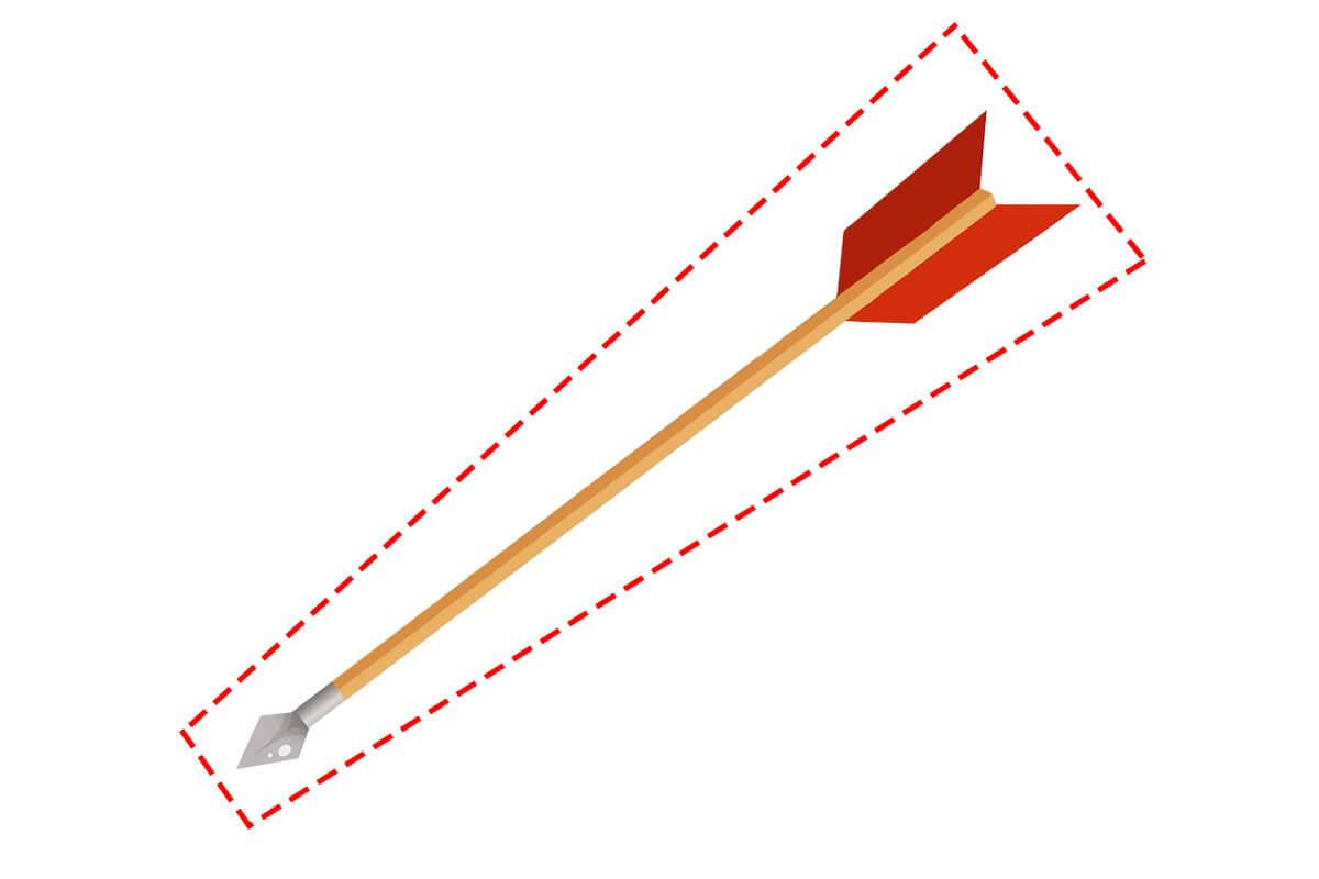 矢挽き(やびき)とは、赤い点線部分の形状から弓矢の矢の事を指します。